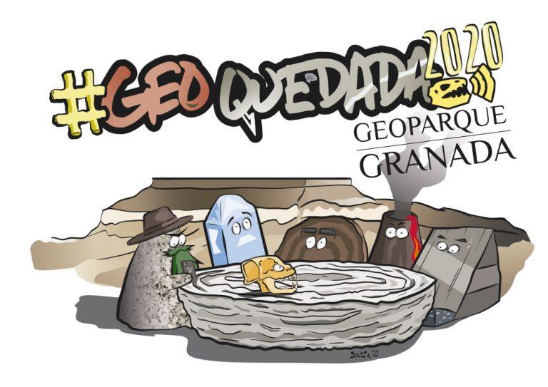 Logotipo de la Geoquedada, aparecen fallas, volcanes, cuarzo y arenisca alrededor de una mesa redonda con un fósil